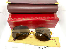 CARTIER Rimless Vintage! Eyeglasses / Sunglasses Panthere Santos Gold BOX 20503