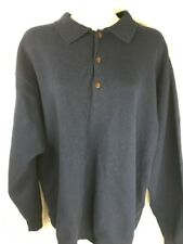 Pendleton Wool Sweater Navy Blue 1/4 Button Up Size L