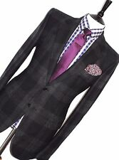 NEW MEN'S ALEXANDER MCQUEEN MIXED CHARCOAL GREY TARTAN CHECK GREY SUIT 42R  W36
