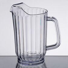 Lot of 6 - 32 oz. Clear Plastic Round Restaurant Beverage Pitchers 69032San