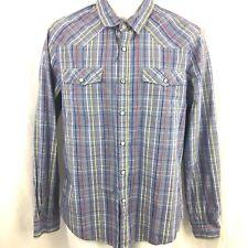 Forever 21 Pearl Snap Shirt Size Medium Mens Plaid Western Rockabilly M