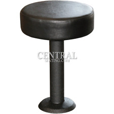 "Bolt Down Restaurant Bar Stool with Black Vinyl Round Cushion -18"" Dining Height"