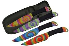 """Throwing Knife Set 4 Piece Trippy Tie Dye Full Tang 9"""" Overall + Sheath"""
