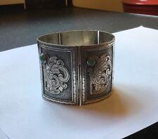 Vtg Sterling Silver Mexican Turquoise Aztec Panel Bracelet Deities Gods Bracelet