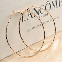 LARGE GOLD PLATED DESIGN HOOP EARRINGS 60MM HYPOALLERGENIC VALENTINES GBL35