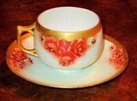 VINTAGE HAND PAINTED ROSES FINE PORCELAIN TEA CUP & SAUCER, GERMANY