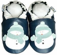 Baby Shoes Soft Sole Leather Toddler Infant Children Kid Boy SnowmanNavy 18-24M