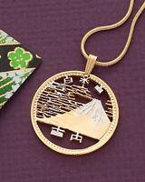 "Japan Mount Fuji  100 Yen Coin Pendant Necklace. Hand Cut 1""dia. ( # 217 )"
