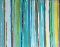 """Original Abstract Art 24"""" x 30"""" Signed Acrylic Painting on Canvas Seaside Beach"""