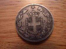 1884 Umberto 2 Lire Silver Coin Italy (ref9L)