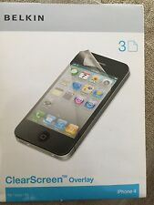 belkin clear screen overlay PROTECTOR  3 PIECE for iPhone 4
