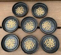 Vintage Black Metal Coasters With Gold Flower, Set Of 8