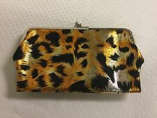 Leopard Print Clutch Purse 2 Sections Close w Kiss Locks Card Pockets Metal Snap