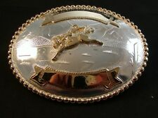 Western Silver & Gold 2 Tone Rodeo Cowboy Bucking Broncho Belt Buckle by Justin