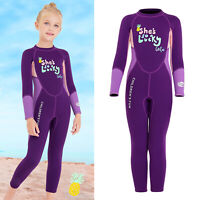 2.5MM Kids Girl One Piece Long Sleeve Diving Full Wetsuit Swim Surfing Suit