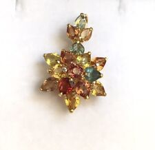 14k Solid Yellow Gold Flower Cluster Pendant, Natural Colors Sapphire 3TCW