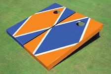 Orange And Blue Alternating Diamond Custom Cornhole Board