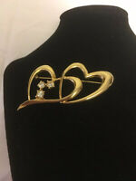 🌟Very Pretty Gold Tone And Rhinestone Double Heart Brooch, Excellent!