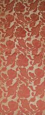 "Vintage Fabric Damask Drapery Upholestery Floral  45"" wide 2 yds Gold/Orange."
