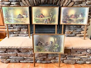 Vintage TV Trays Andres Orpinas Set of 4 Country Cottage Barn Farm Dinner Trays