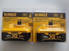 (2) DEWALT DCB206 20V 20 Volt max Li-Ion 6.0 AH battery packs New Replace DCB205