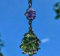 MOLDAVITE & TANZANITE Necklace Pendant 925 Silver CHARGED Spiritual Jewelry