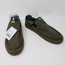 Sanuk Mens Pick Pocket Slip On Casual Shoes Dark Olive Size 9 New