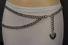 Women Waist Hip Silver Metal Chain Waistband Belt Heart Charm Buckle M L XL