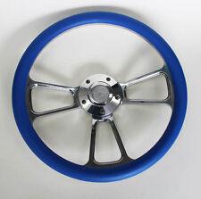 "New Nova Chevelle Steering Wheel Sky Blue Billet 14"" Chevy Bowtie Center Cap"