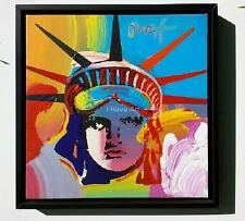 "Peter Max-""Liberty Head""-Original Acrylic Painting On Canvas-18 X18 -Framed Art"