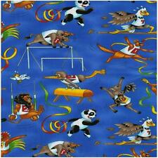 Fat Quarter The Games Olympics Sports Animals Blue Cotton Quilting Fabric Nutex