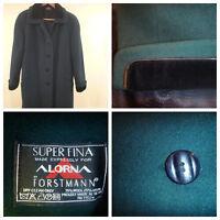 Women Alorna Velvet Cuff Super M  L Long Wool Blend USA Coat Vintage Green 70