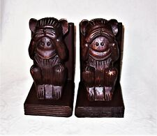 """Vintage Hand Carved Decorative Dark Wood """"See No Evil"""" Monkey Bookend Pair EUC"""