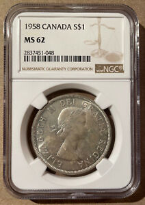 1958 Canada One Dollar NGC MS 62 - Silver - Totem Pole