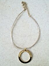 Chico's necklace Silver hammered gold hoop circle pendant abstract MCM choker
