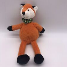 "Mary Meyer Plush Orange Fox Lovey Plush Animal Green Checkered Scarf 11"" H1"