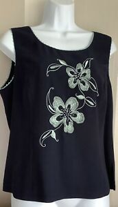 Jacques Vert Navy/Green Floral Floaty Top Size 16