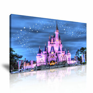 ' Disney Castle At Starry Night ' Cartoon Canvas Wall Deco Landscape Many Sizes