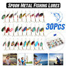 30X Metal Spinners Fishing Lures Trout Pike Perch Salmon Bass Fishing Tackle