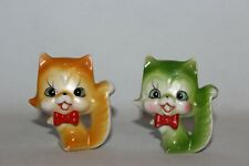 "Vintage Miniature Ceramic Smiling Cats Made in Japan 2"" Green Orange"