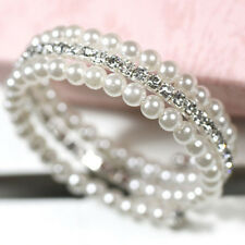 Hot Sale 2 Rows White Faux Pearls Rhinestone Stretch Bangle Bracelet for Women