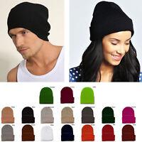 Plain Beanie Knit Ski Cap Skull Hat Warm Solid Cool Winter Cuff New Blank Beany