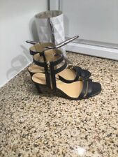 Ann Taylor Leather Gladiator Gold  Peep Toe Heels Blue Navy Size 8 Ankle Strap
