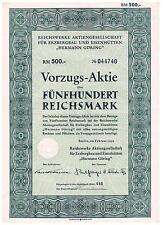 RM 500 Vorzugsaktie Reichwerke f Erzbergbau u Eisenhütten Hermann Göring 1939