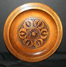 VTG Wooden Plate Inlaid Brass Carved Polish ? Poland ? Czechoslovakia Russian?