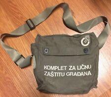 Serbian Dark Green canvas Gas Mask Bag Walking Camping Biking Gear Pack Satchel*