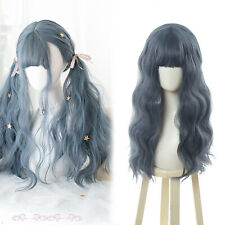Women Girls Lolita Curly Wavy Wig Gray Blue Long Bangs Cosplay Full Wigs Party