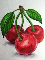 Watercolor Painting Cherry Red Juicy Berries Green Leaf Farm ACEO Art *