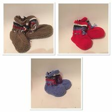 Baby Toddler Hand Knit Sock Slipper Bootee Shower Gift Stripe Shoes New Blue Red