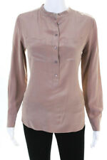 Equipment Femme Womens Silk Half Button Down Long Sleeve Blouse Beige Size Small